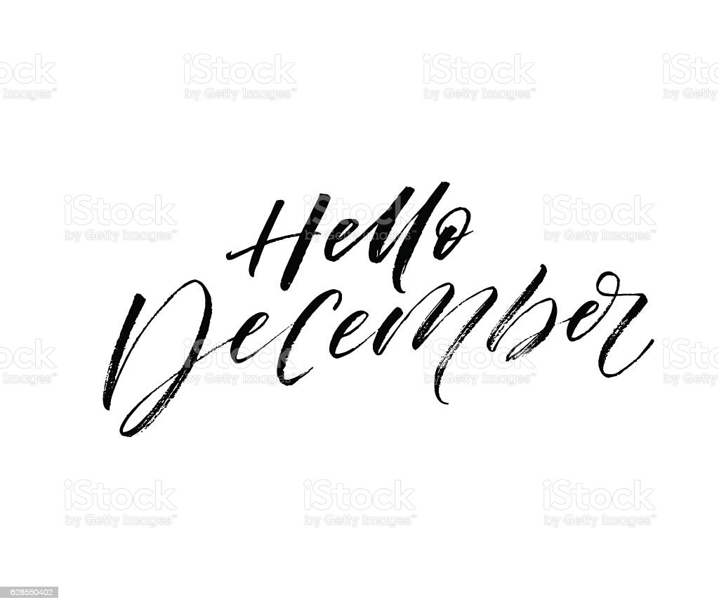 Hello december postcard. vector art illustration