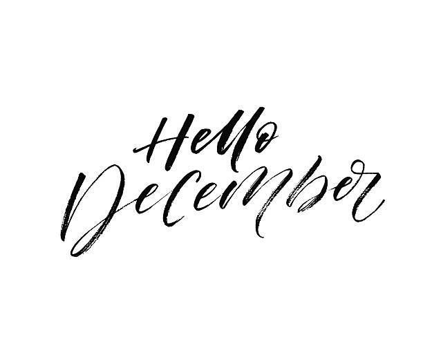 illustrazioni stock, clip art, cartoni animati e icone di tendenza di hello december postcard. - dicembre