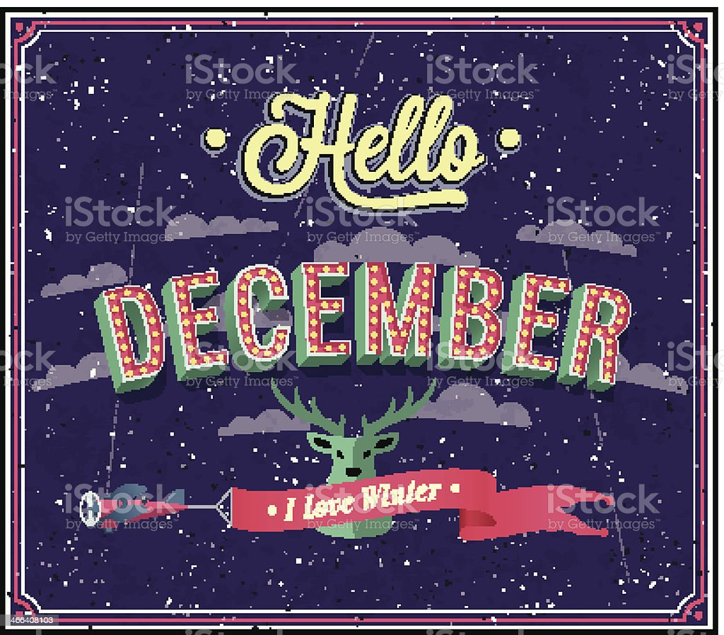 Hello december typographic design. vector art illustration