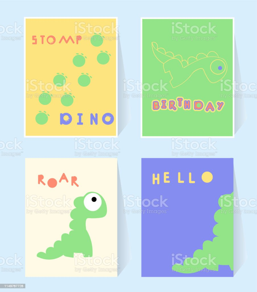 photograph about Dinosaur Birthday Card Printable called Hi Dino Print Card For Invation Birthday Social gathering Dinosaurs