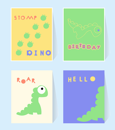 Hello Dino print card for invation birthday party. Dinosaurs stomp, roar. Poster in scandinavian style. Vector illustration orange, blue, red, green colors. Set greeting card, nursery, baby shower.