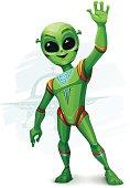 A Friendly Green Alien - Vector Illustration.