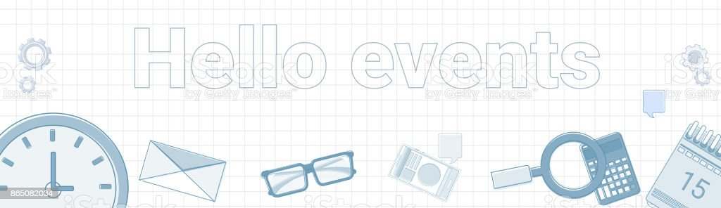 こんにちはイベント word は四角形の背景水平バナー ビジネス時間