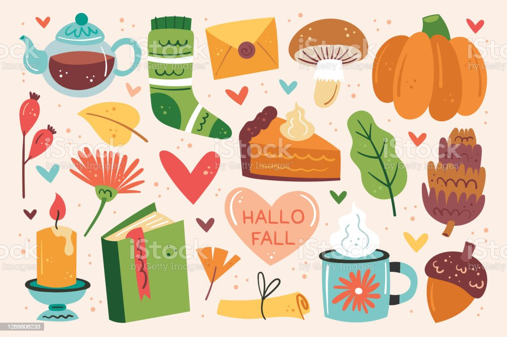 Hello fall. Autumn clip art, set of elements. Pumpkin pie, cup, tea, mushroom, sock, candle, book, flower, leaf, heart, letter. Hello fall. Autumn clip art, set of elements. Pumpkin pie, cup, tea, mushroom, sock, candle, book, flower, leaf, heart, letter. Bumpy stock vector