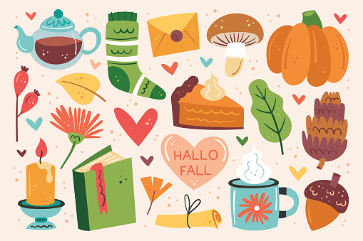 Hello fall. Autumn clip art, set of elements. Pumpkin pie, cup, tea, mushroom, sock, candle, book, flower, leaf, heart, letter.