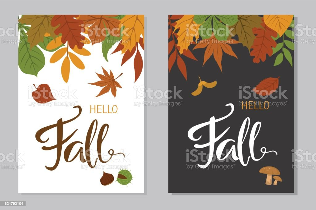 hello fall autumn posters in a4 format with forest colorful leaves border and handwritten lettering oon black and white background vector art illustration