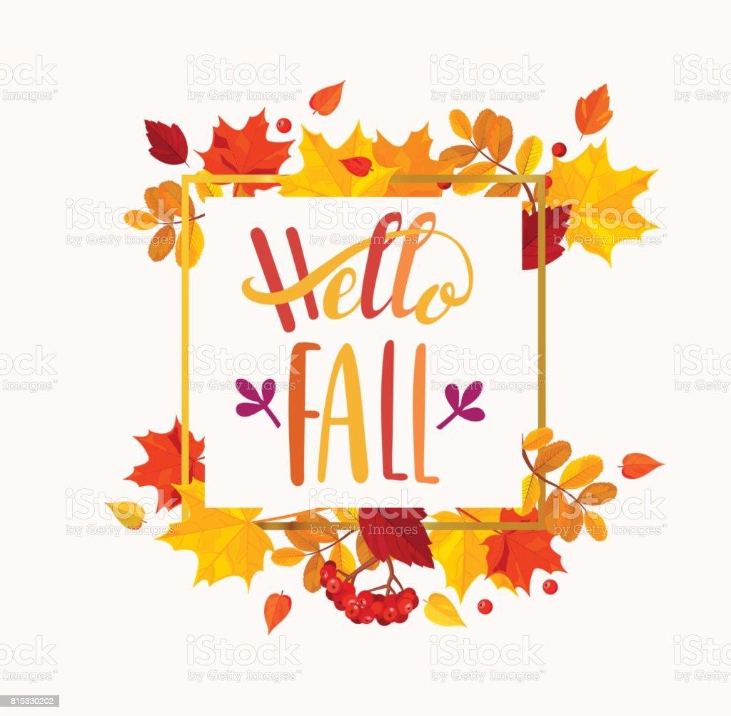 Hallo Blätter Herbstschriftzug Im Herbst Rahmen Stock Vektor Art und ...