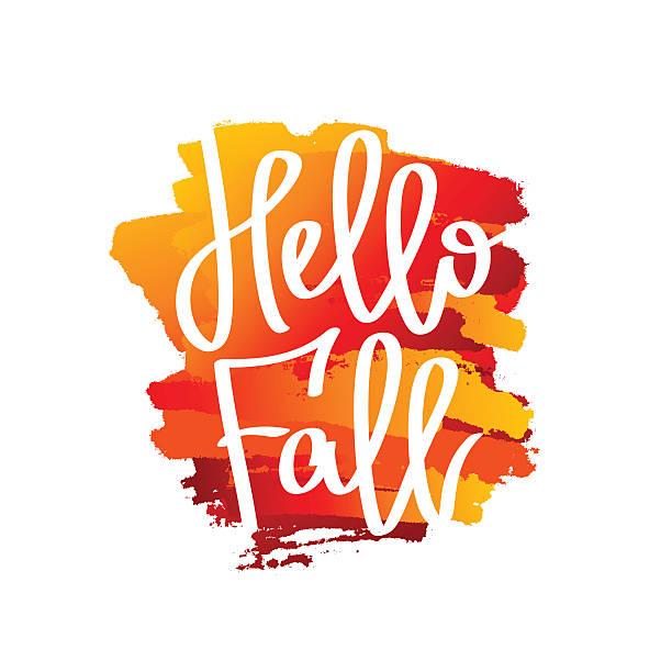 hallo herbst! der trend kalligrafie - hello stock-grafiken, -clipart, -cartoons und -symbole
