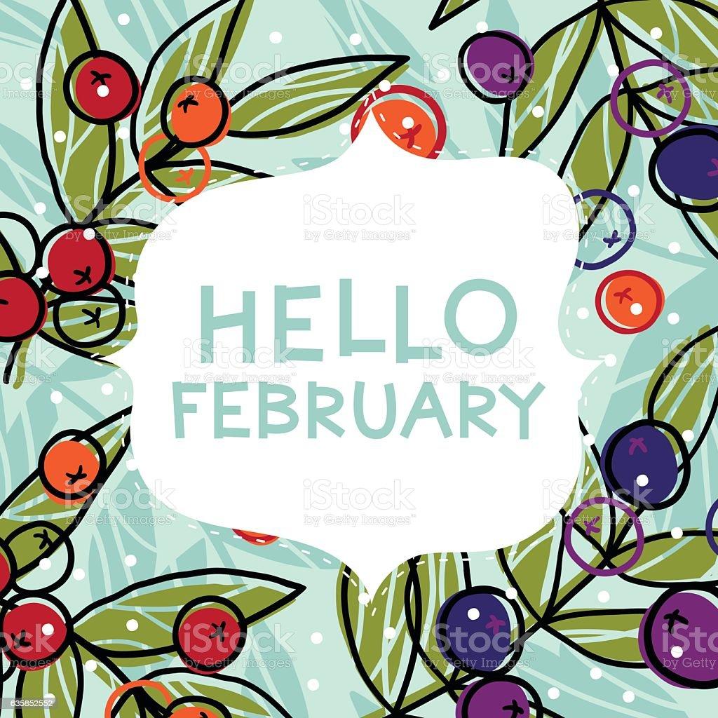 Hello February card vector art illustration