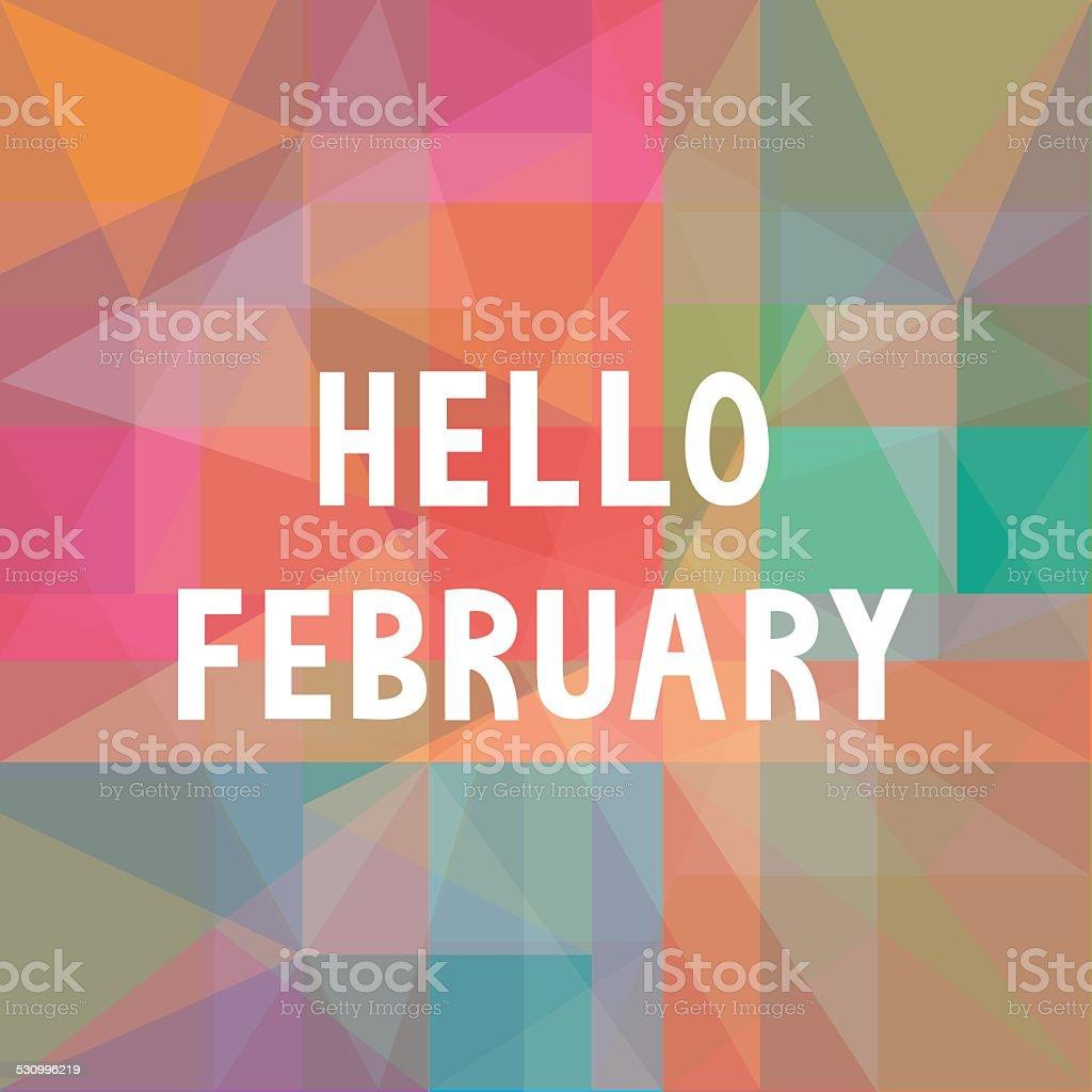 Hello February card1 vector art illustration