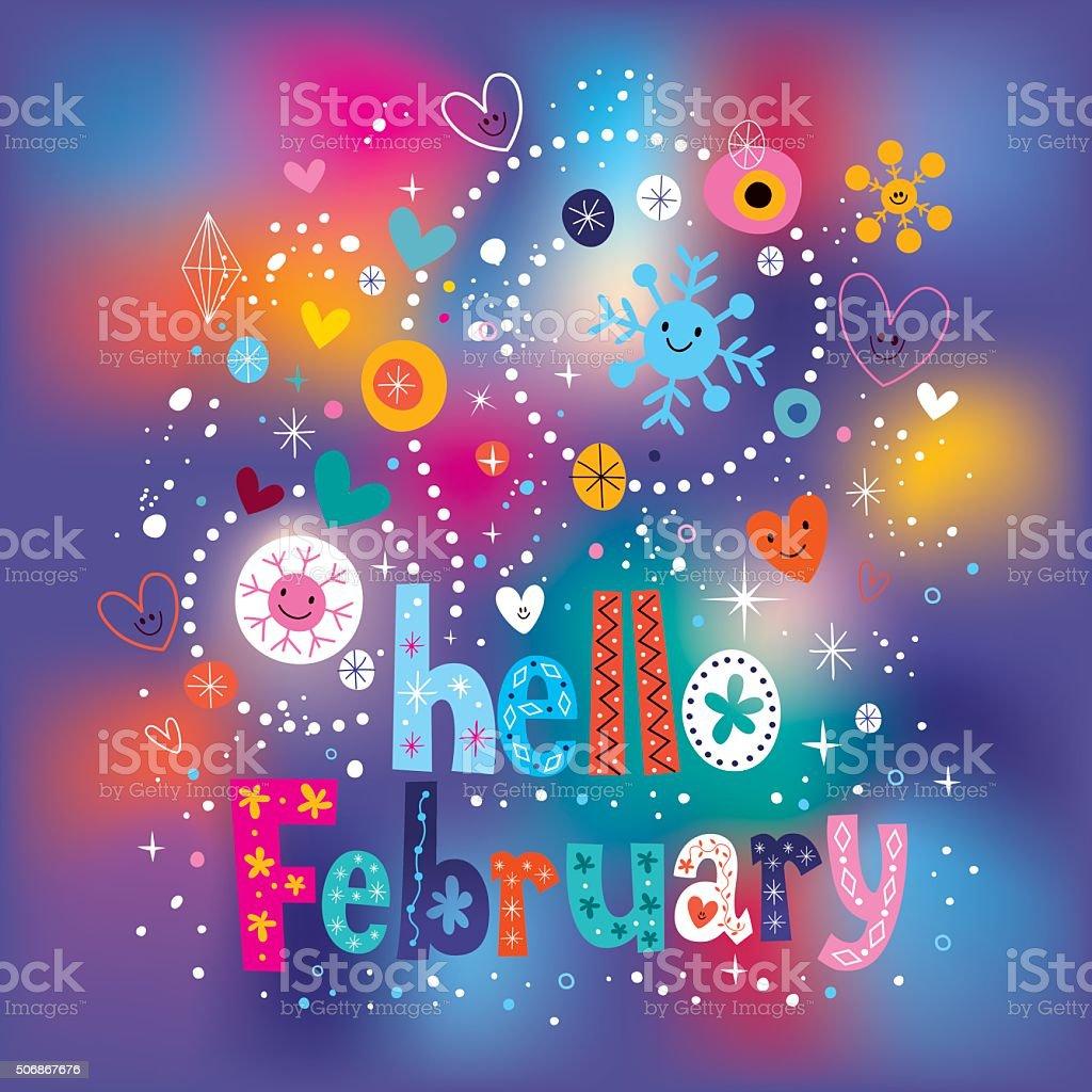 Hello February decorative type text lettering vector art illustration