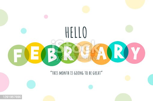 istock Hello February lettering stock illustration 1291957690