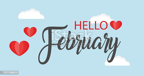 istock Hello February vector background. Cute lettering banner with clouds and hearts illustration. 1297036620