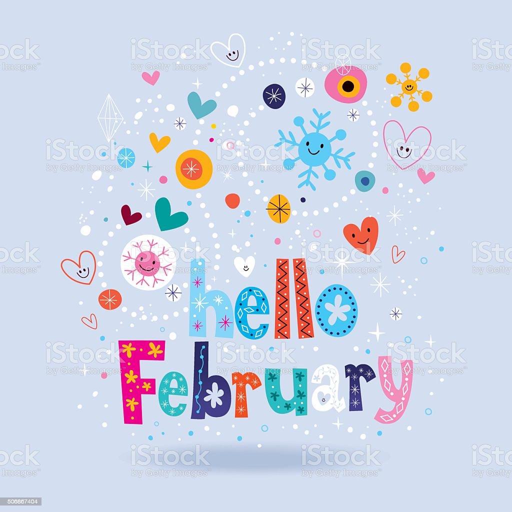 Hello February vector art illustration