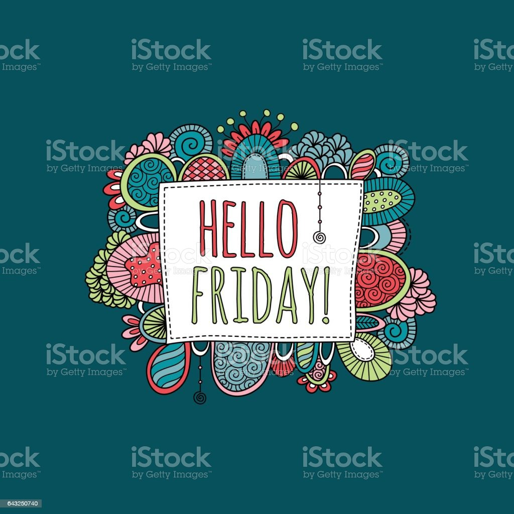 Hello Friday Hand Drawn Doodle Vector vector art illustration