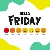 Vector illustration with smiles and slogan Hello Friday. Background design with emoji days of the week. Set of emoticons for postcard about happy Friday. Template for banner, poster, web, print, card.