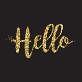 Hello Gold Glitter Message On Black Background