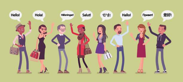 illustrazioni stock, clip art, cartoni animati e icone di tendenza di hello greeting in different languages and group of diverse people - lingua