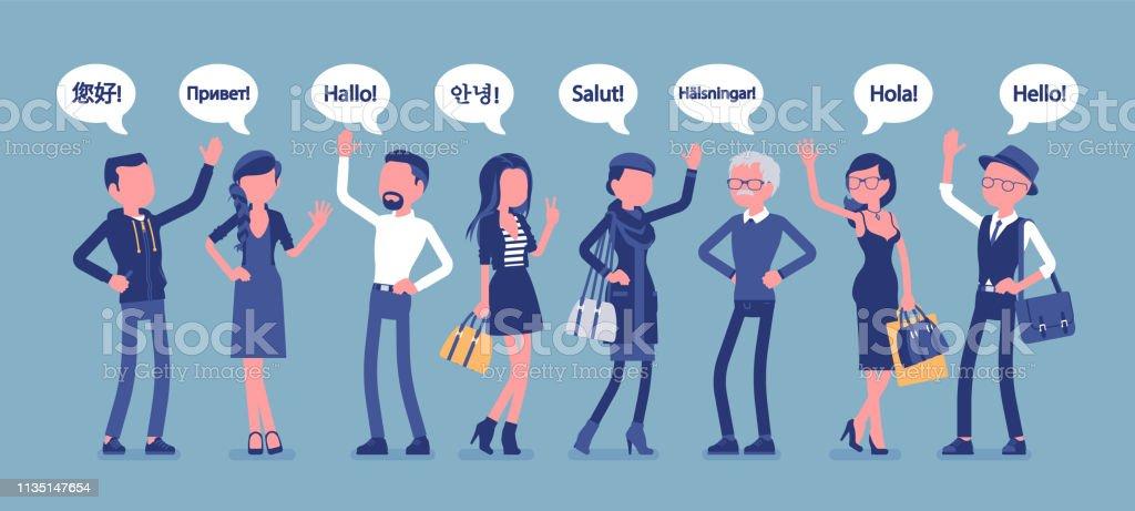 Bonjour Salutations Dans Les Langues Et Le Groupe De
