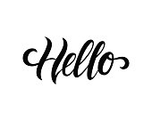 hello. Hand drawn calligraphy and brush pen lettering. design for holiday greeting card and invitation