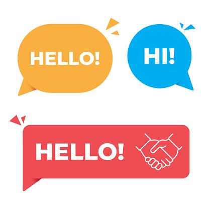 Hello, Hi Speech Bubble and Handshake Banner Vector Design.