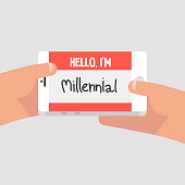 Hello, I'm millennial. Conceptual illustration, Name tag. Red badge. Flat editable vector illustration, clip art