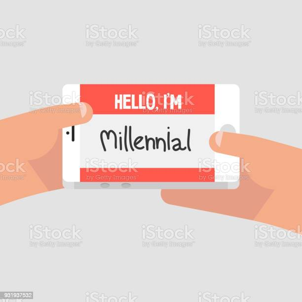 Hello im millennial conceptual illustration name tag red badge flat vector id931937532?b=1&k=6&m=931937532&s=612x612&h=qslu3i4yexwkjrtped5pzgamutkiylokcuw61cuogea=
