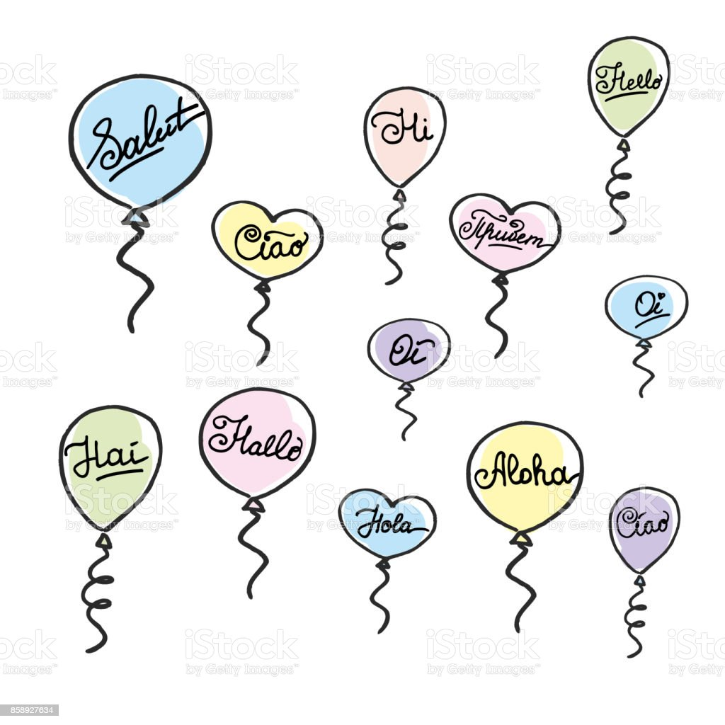 Hello In Different Languages Doodle Balloons Stock Vector Art More
