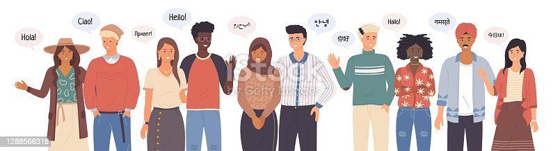 Group of people talking different languages saying hi. Greeting people waving hands and gesturing. Diverse nations representatives waving hand. Foreign phrases from native speakers say hello ethnicity