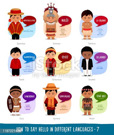 Cartoon boys with speech bubbles. Template for the dictionary. Vector flat illustration.