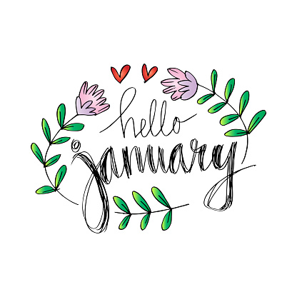 Hello January Hand Lettering Calligraphy Stock ...