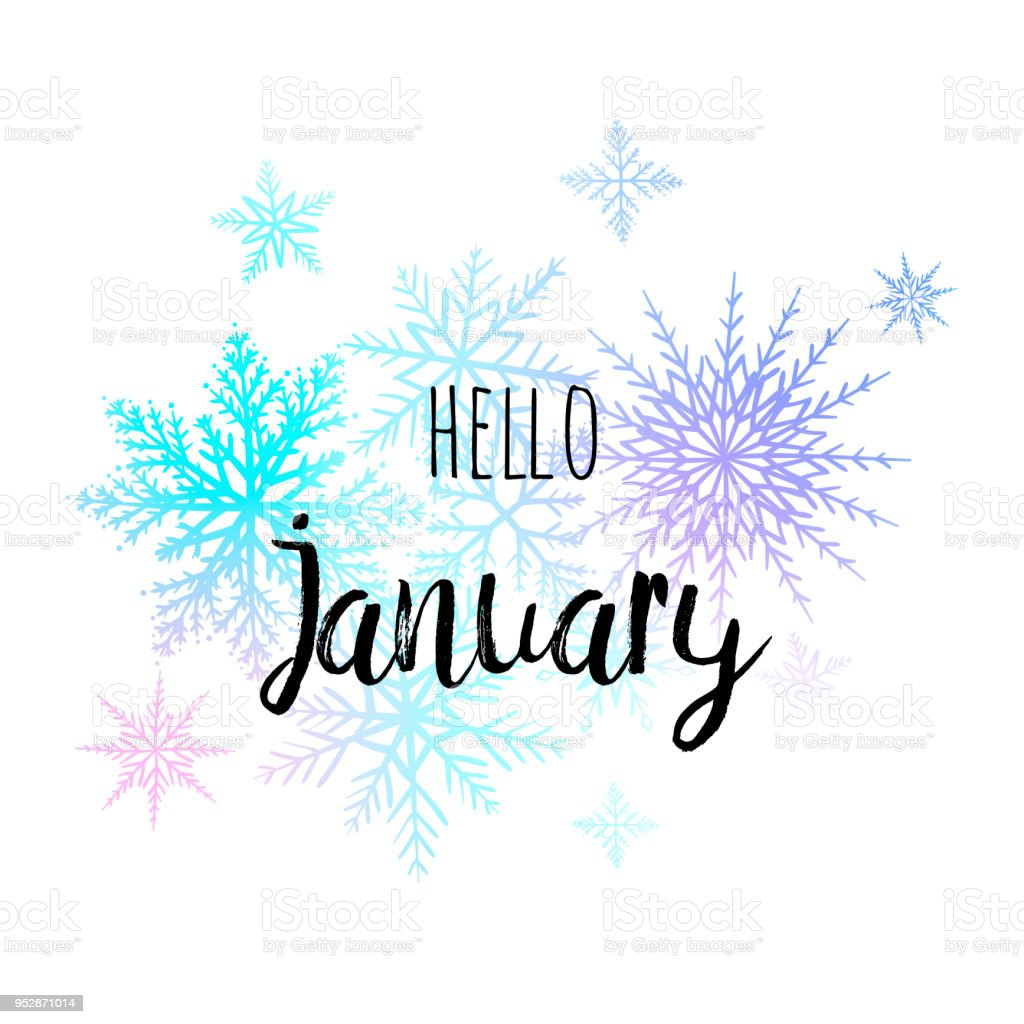 Hello January Poster With Snowlakes On The White Background Motivational Print For ...