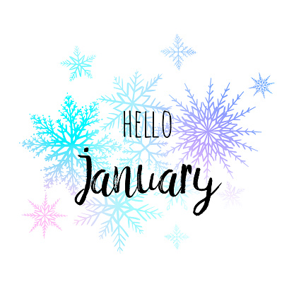 Hello January poster with snowlakes on the white background. Motivational print for calendar, glider.