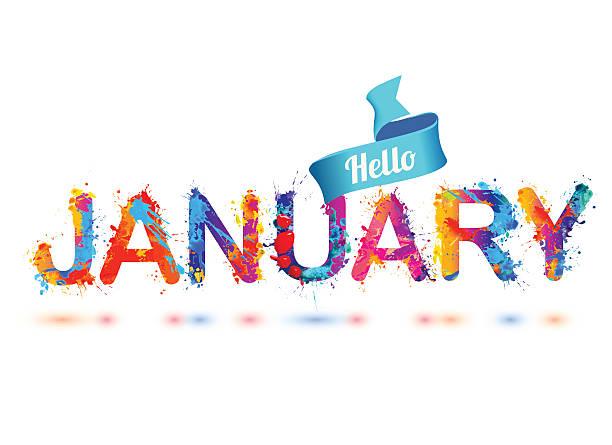 Hello january. Splash paint letters Hello january. Splash paint letters vector inscription january stock illustrations