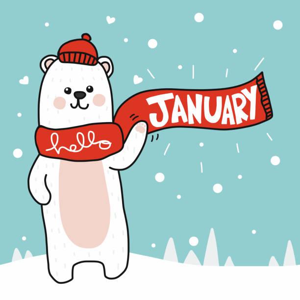 Hello January white polar bear cartoon doodle style vector illustration Hello January white polar bear cartoon doodle style vector illustration january stock illustrations