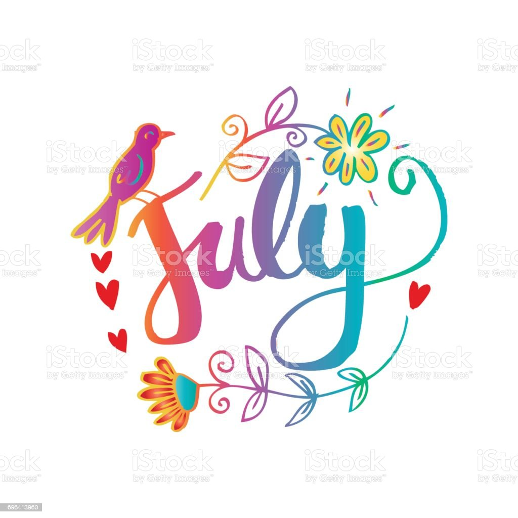 Marvelous Hello July Hand Lettering Phrase. Summer Greetinng Card. Royalty Free Hello  July Hand