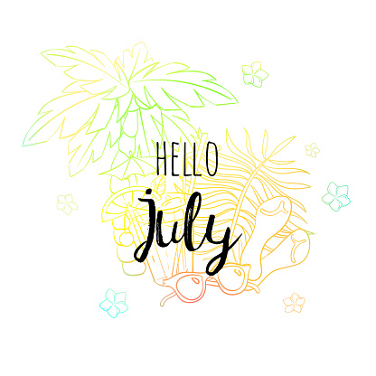 Hello July poster with palm, sun glasses, sandals, flowers and coctail. Motivational print for calendar, glider, invitation cards, brochures, poster, t-shirts.