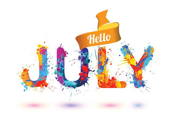 hallo juli. spritzen zone buchstaben - hello stock-grafiken, -clipart, -cartoons und -symbole