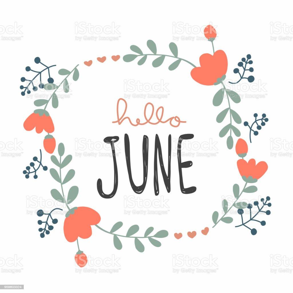 6 月かわいい花の花輪ベクトル図の落書きのスタイル アーカイブ画像の