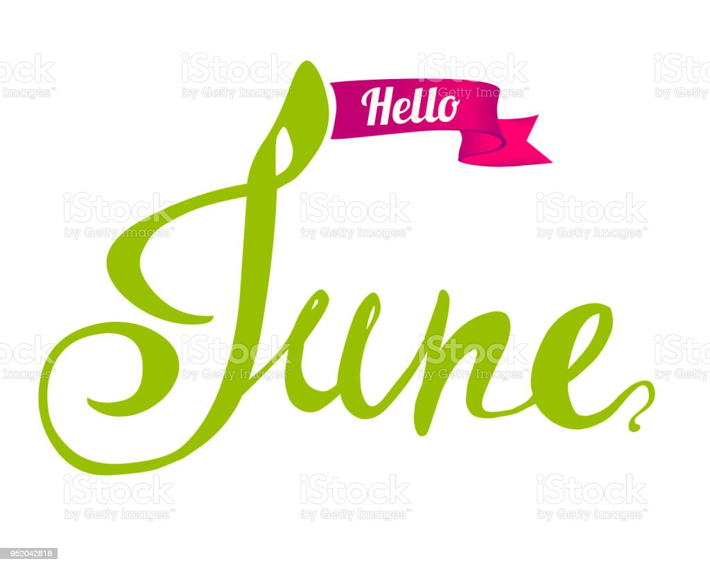 Hand Written Doodle Word Royalty Free Hello June