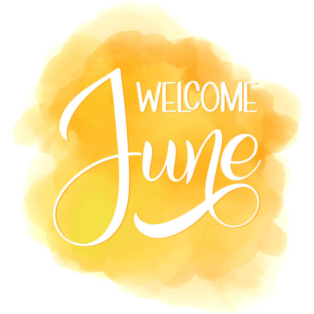 stockillustraties, clipart, cartoons en iconen met hallo juni belettering. - juni