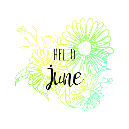 Hello June poster with flowers. Motivational print for calendar, glider, invitation cards, brochures, poster, t-shirts.
