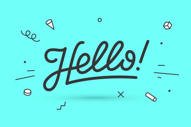 ilustraciones, imágenes clip art, dibujos animados e iconos de stock de hola. letras para banner - saludar