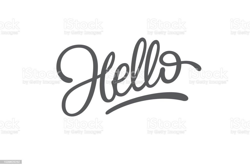 Hola letras sobre fondo blanco aislado. Tipografía para diseño de logotipo, etiqueta, insignia, bandera, saludo, cartel. Pincel de caligrafía. Tipografía de la mano bosquejada. Ilustración de vector. - ilustración de arte vectorial
