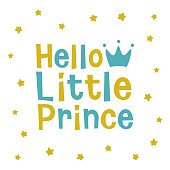 Hello Little Prince, crown and star kids poster pattern
