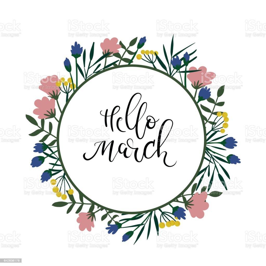 text till gratulationskort Hej Mars Hand Lettering Text Våren Gratulationskort Blommig Krans  text till gratulationskort
