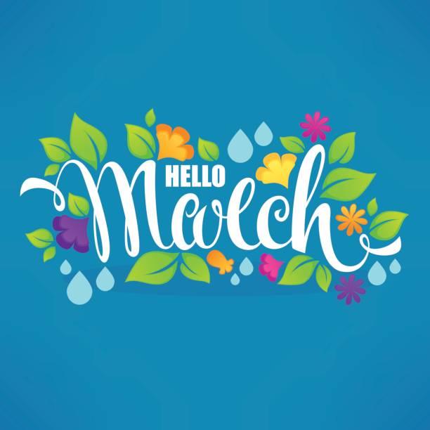 illustrations, cliparts, dessins animés et icônes de bonjour mars - mars