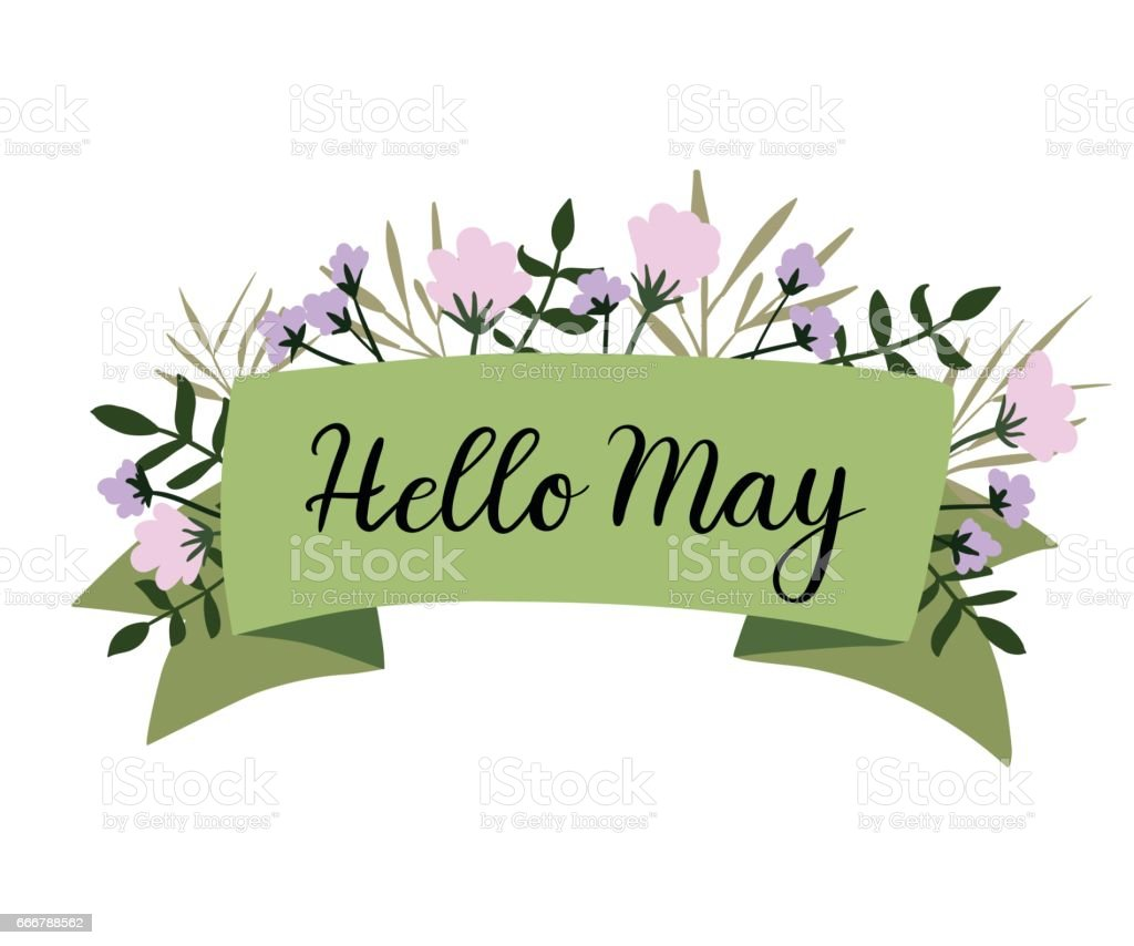 Hello May Hand Lettering Greeting Card Banner Invitation ...
