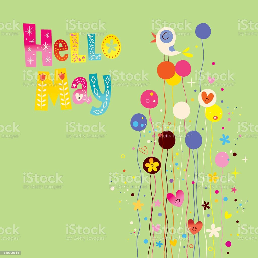 Hello May spring card vector art illustration