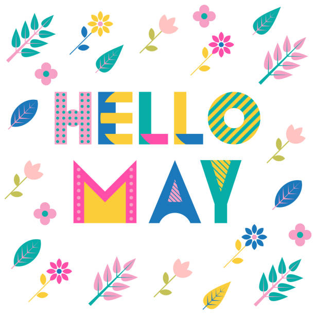 bildbanksillustrationer, clip art samt tecknat material och ikoner med hej maj. trendiga geometriska teckensnitt. text, blad och blommor isol - maj